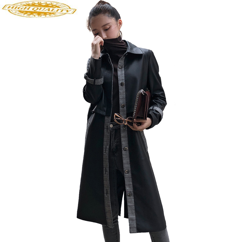 Real Sheepskin Coats For Women Fashion Genuine Leather Jacket Spring Autumn Jackets Long Trench Female Outerwear OT2892