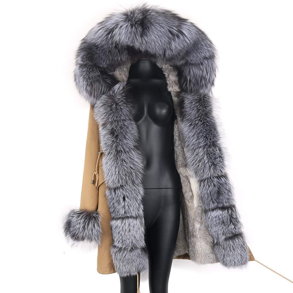 2021 Real Fur Coat Natural Real Fox Fur Collar Warm Big Fur Outerwear Detachable Female Long Parka Women Fashion Winter Jacket 3