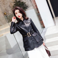 2020 Women Spring Genuine Real Sheep Leather Jacket R11