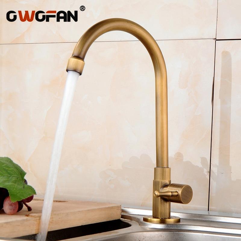 brass vault - Antique Kitchen Single Cold Basin Faucet 360 Degree Swivel Brass Sink Faucet Single Handle Deck Mounted Mixer Tap HJ-0186F
