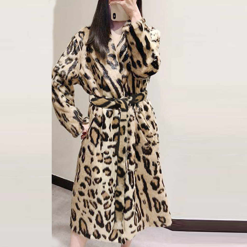 2019 Leopard Print Faux Fur Coat Long Sleeve With Belt Turn Down Collar Fur Jacket Winter Coat Women Teddy Coat Fourrure Femme