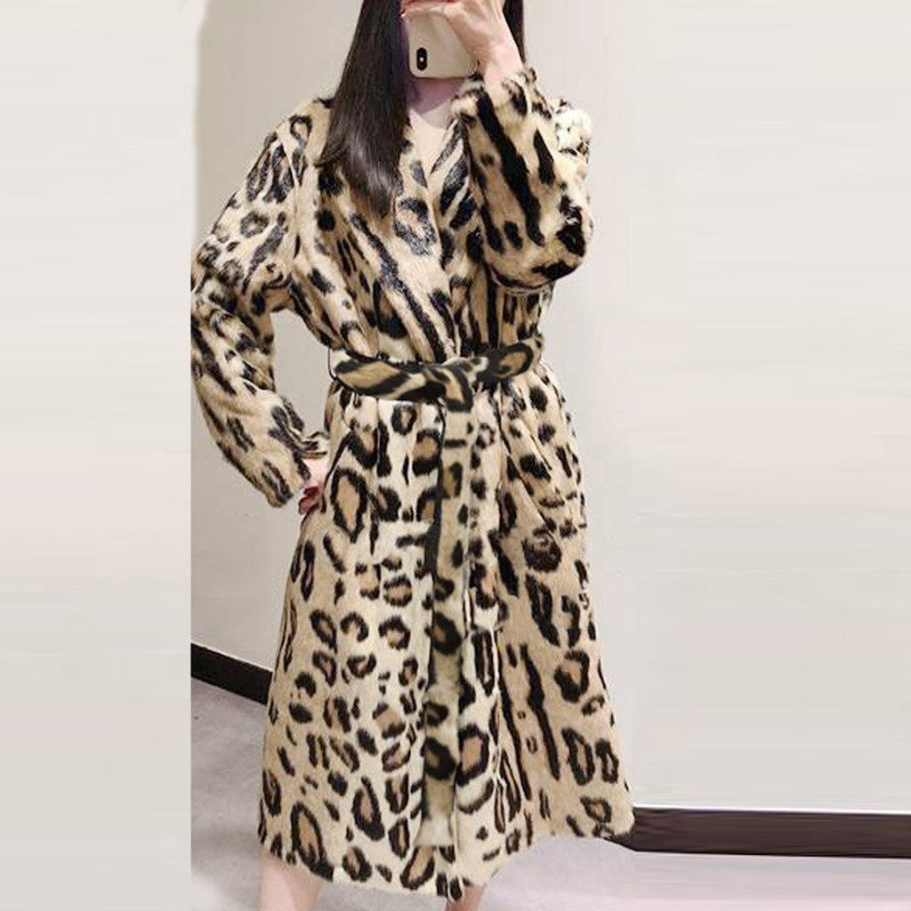 Женское пальто из искусственного меха с леопардовым принтом, зимнее пальто с длинным рукавом и поясом, с отложным воротником, 2019|Куртки из искусственного меха| | АлиЭкспресс