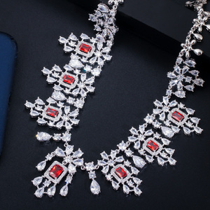 Image 4 - CWWZircons Shiny Cubic Zirkon Große Runde Tropfen Rot Halskette Ohrringe Schmuck Sets für Bräute Hochzeit Prom Kleid Zubehör T361