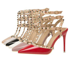 European and American style sexy nightclub stiletto heels patent leather metal rivets hollow Rome fashion high heels