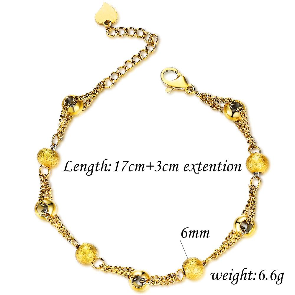 Браслет цепочка женский из нержавеющей стали с бусинами золотого