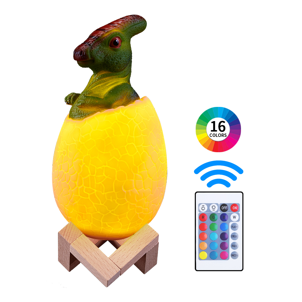 Dinosaur Egg 3d Print Night Light 16 Colors Change Remote Control Rechargeable Desk Table Decoration LED Lamp Luces Led
