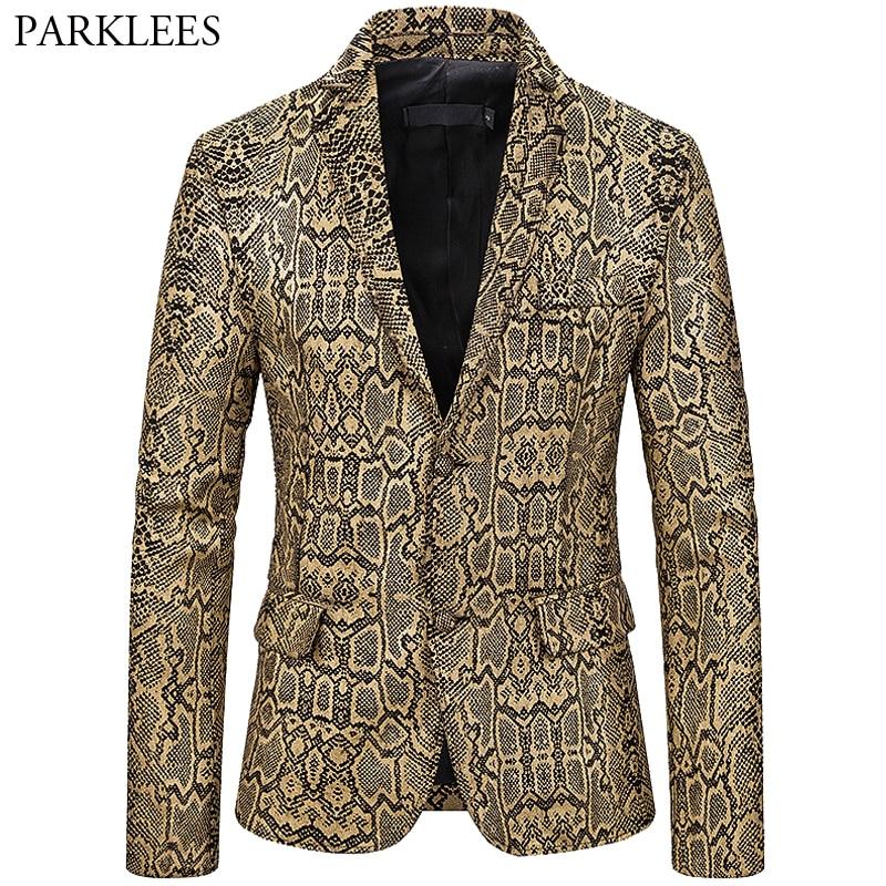 Sexy Snake Pattern Blazer Men Bronzing Two Button Mens Suit Jacket Nightclub Dj Festival Dance Party Stage Suit Coat Men Blazers