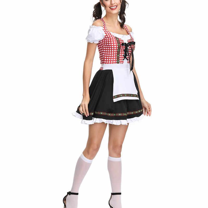 Бесплатная доставка Октоберфест фестиваль пива октября дирндль платье-передник платье с блузкой красная решетка немецкий баварский Косплей Костюм O4