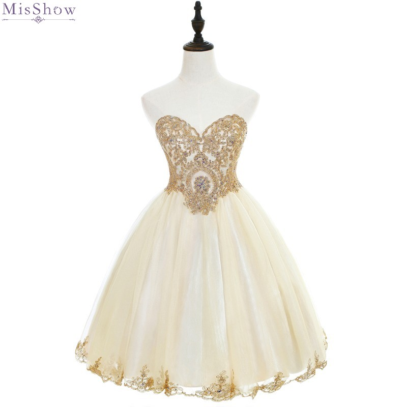 Cocktail Dresses Knee Length 2019 Short Coctail Party Dress Tulle Robe Cocktail Sweetheart Neck Sleeveless Champagne Formal Gown