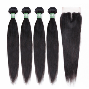 Image 2 - Brazilian Straight Bundles With Closure Aircabin 100% Remy Human Hair Weave Bundles Extensions Swiss 4x4 Lace Frontal Deep Part