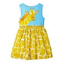 Little Maven 2021 Summer Baby Girl Clothes Toddler Animal Vestiods Frocks Casual Sleeveless Giraffe Dress for Kids 2-7 Years
