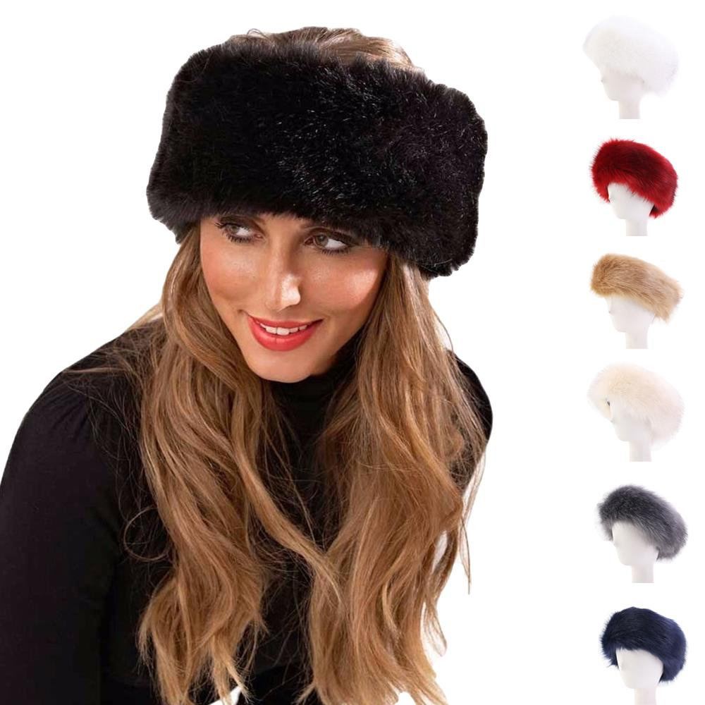 New Russian Style Fox Faux Fur Turban Cap Women Winter Earwarmer Earmuff Hat Ski Hat Fluffy Snow Cap Hairband Outdoor Ski Hats