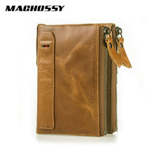 Genuine Leather Men Wallets Credit Business Card Holder Fashion Double Zipper Cowhide Leather Wallet Purse carteira masculina цены