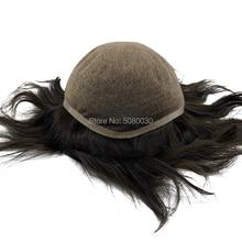 スーパーファイン 100% レミー人間の髪通気性フルスイスレースのかつらはげ男性