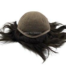 Süper ince % 100% remy insan saçı nefes tam İsviçre dantel peruk kel erkekler için