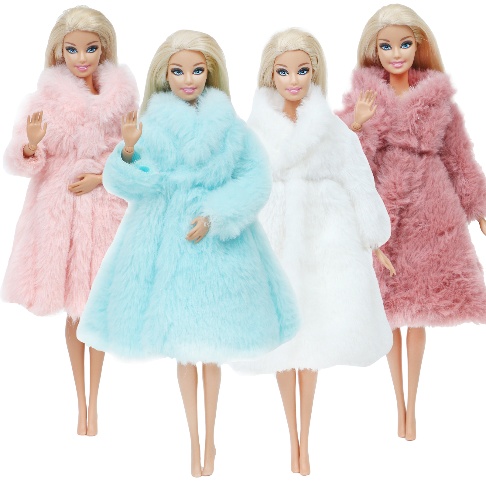 One Pcs Colourful Wool Coat High Quality Noble Winter Wear High Quality Fashion Dress Accessories Clothes For Barbie Doll Toy
