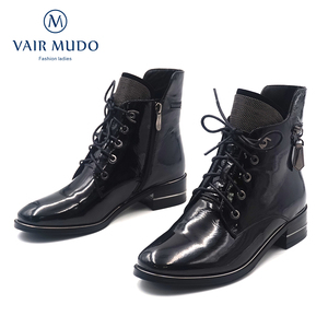 Image 5 - VAIR MUDO2020 Autumn Ankle Boots Women Shoes High Quality Cow Leather  Elegant Round Toe Low Heels classic lady Boots Shoes  DX3