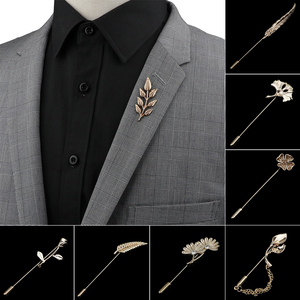 Men's Advanced Chic Brooches Gold/Black Leaf Pin Suit Shawl Lapel Pins Uxedo Corsage Hat Shirt Collar Pin Party Daily Accessory