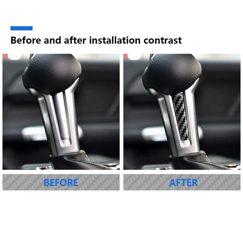 Para Ford Mustang etiqueta Ford Mustang 2015 accesorios 2016, 2017, 2018, 2019 de fibra de carbono Interior de cambio de engranaje de mando manejar