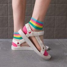 Women Ins Style Fashion Transparent Rainbow Short Socks Summer Thin Harajuku Ank