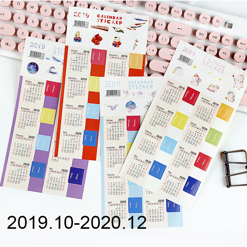 New 2020 Calendar Stickers Notebook Planner Decorative Sticker Mini Calendar Label Index Bookmark Kawaii Stationery 2 Pcs/pack