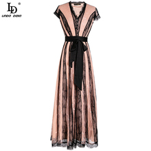 LD LINDA DE Summer Fashion Runway Bohemian Women Midi Dress Wrap Belted V Neck Striped Print Ladies Slim Gorgeous A Line Dresses