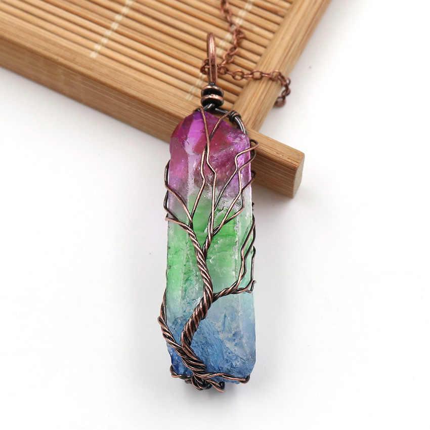 ヴィンテージ不規則な天然石クリスタルペンダントネックレス女性男性ワイヤーラップ生活の木ペンダント振り子宝石虹の宝石