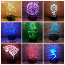 World Of Warcraft House Stark Game Of Thrones Lich King Kabut Pandaria Windrunner 3D Gambar 7 Warna Berubah Malam lampu Hadiah(China)