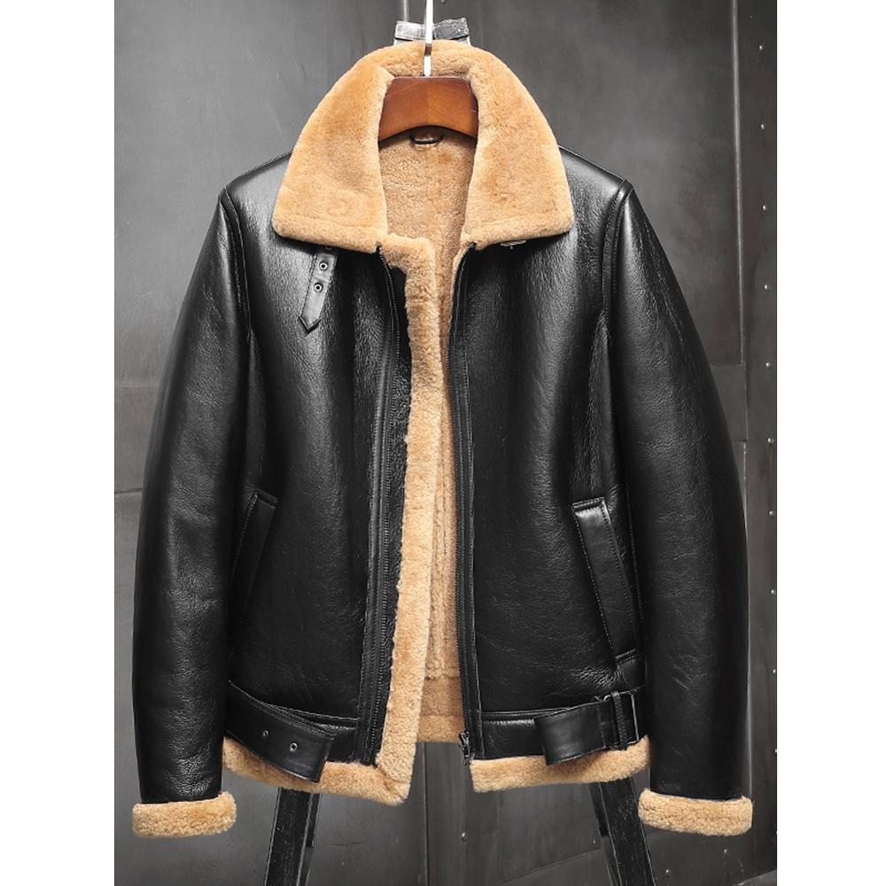 2019 New Shearling Coat Mens Black B3 Bomber Jacket Leather Jacket Mens Winter Coats Fur Jacket Sheepskin Coat