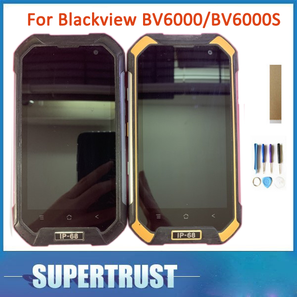 Black Green Yellow With Frame ORIGINAL For Blackview BV6000 BV6000S LCD Display Touch Screen Sensor Glass Digitizer Assembly