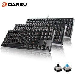 DAREU-Teclados mecánicos DK100, 104 teclas, interruptor azul/negro, sin conflicto, teclas macro Multimedia para juegos, para PC, juego de portátil