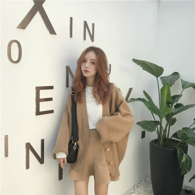 Oversize Beige Contour Women Long Sweater Coat Female Big Sleeve Knitted Cardigan Coat With Buttons V Neck Outerwear