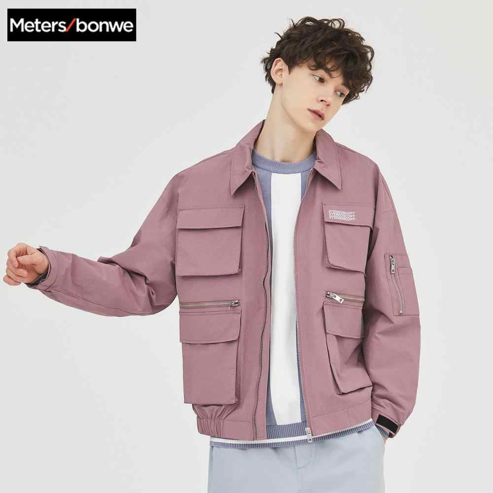 Metersbonwe 2020 春の新メンズカジュアルオーバーオールジャケット男性ファッションラペルポケットジャケット男性ハンサムルースジャケット