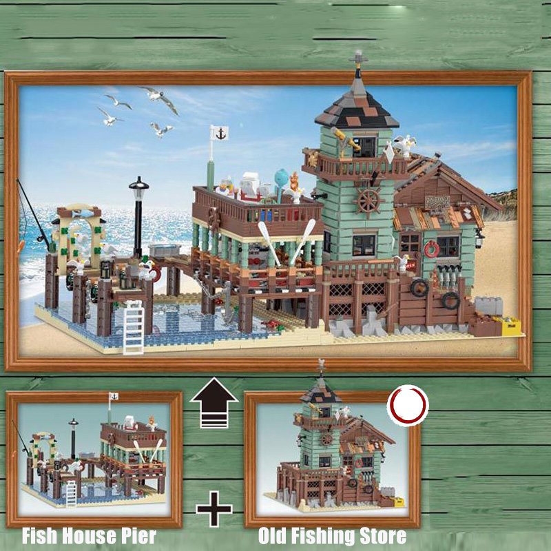 IN Stock DHL 30101 Old Fishing House Pier 16050 The Old Finishing Store Set 83028 21310 Building Blocks Bricks Education Toy
