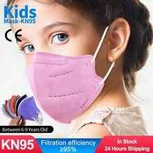 Crianças kn95 máscara 6-9 anos de idade ffp2 mascarillas niños 5 camadas cor fpp2 aprovado infantil máscara facial crianças ffp2mask respirador