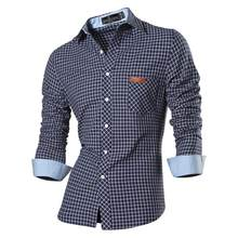 Jeansian männer Casual Kleid Shirts Mode Desinger Stilvolle Langarm Slim Fit 8615 Navy2(China)
