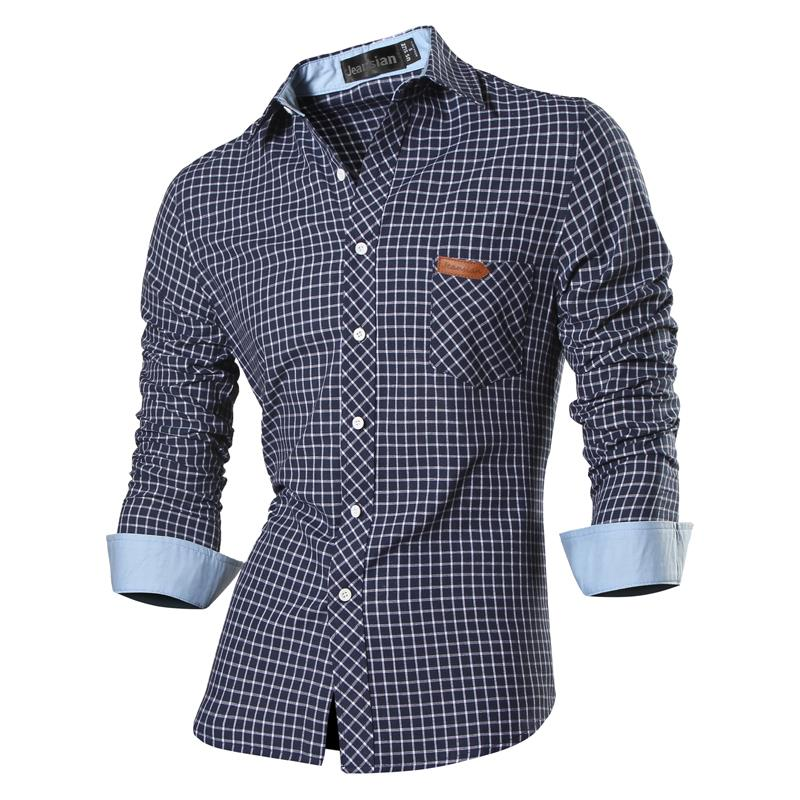 Jeansian Men's Casual Dress Shirts Fashion Desinger Stylish Long Sleeve Slim Fit 8615 Navy2