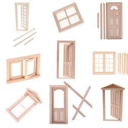 Новая деревянная дверь «сделай сам», ролевая игрушка для детей, 1:12, имитация двери кукольного домика, миниатюры, аксессуары для кукольного д...