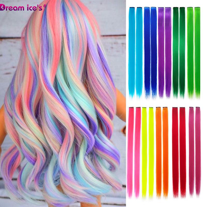 Colored synthetic hair extensions clips in one piece Ombre fake purple  long straight rainbow hair pieces dream ice's 1