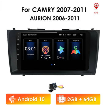 Android 10 2G+32G Car Radio Multimedia Video Player Navigation GPS 2 din For Toyota Camry 40 50 2007 2008 no dvd 2din 4GWIFI SWC image