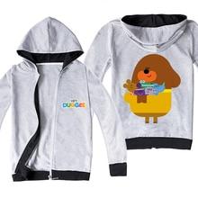 Hey Duggee Kids Hooded Zipper Thin Coats Children's Clothing Boys Girls Jackets Plush Outwear Fashion Hoodies Pullover for Teens