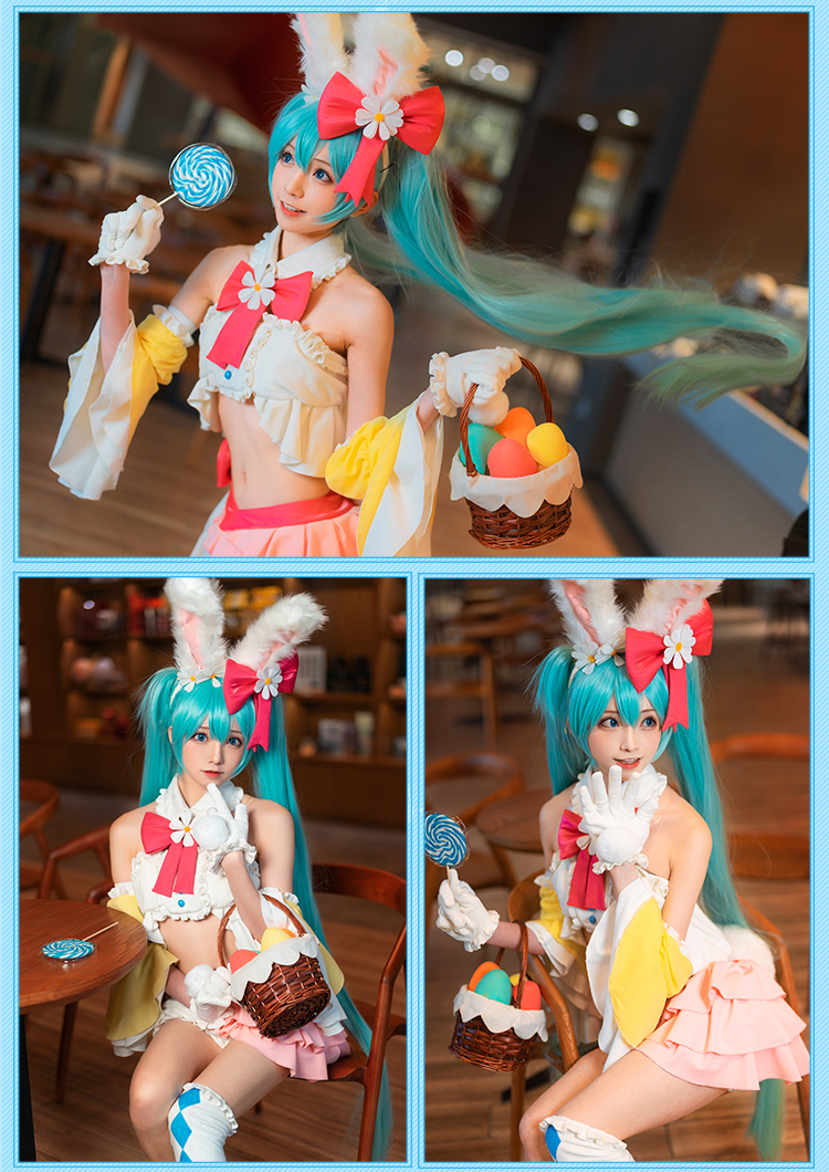 High Quality 2019 Vocaloid Hatsune Miku Cosplay Cute Rabbit Ears Clothing Suits Carnival Halloween Cosplay Costumes for Women
