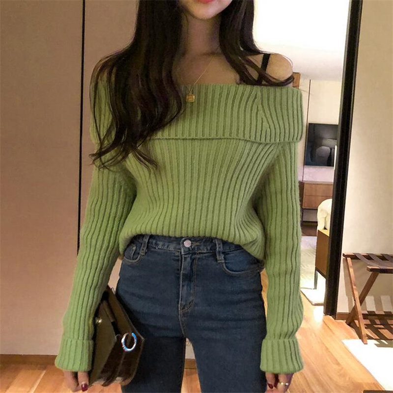 Alien Kitty Warm Pullovers Chic Bare Shoulders Soft All-Match Loose Elegant Fashion Casual Women Knitted Solid Fresh Sweaters
