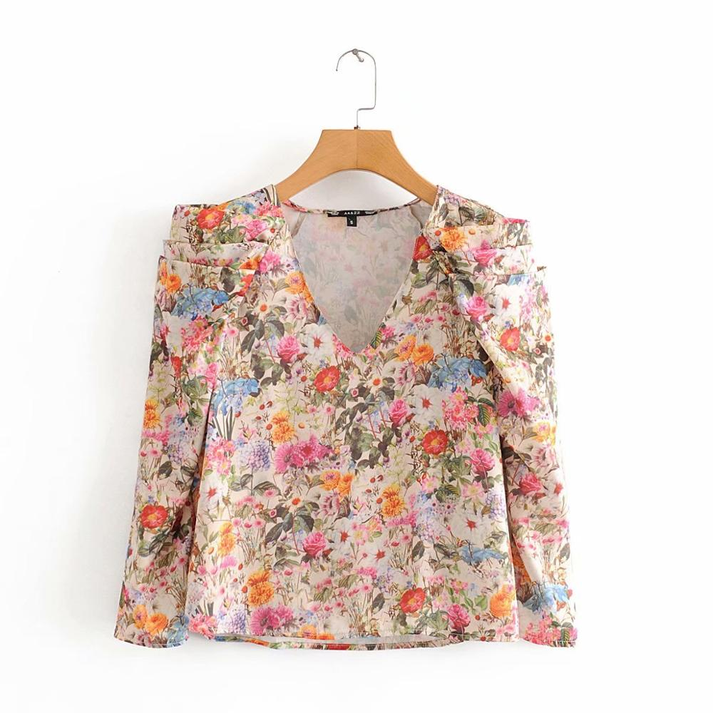 New women fashion v neck pleated puff sleeve smock Shirts blouses women floral print casual roupas femininas chic tops LS6419