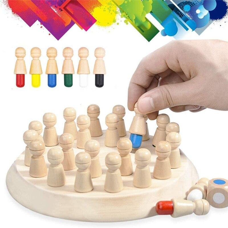 Монтессори памяти игра на шахматной доске, 3D пазлы из дерева для раннего развития детей Семья вечерние Повседневное игра взаимодействие Не...