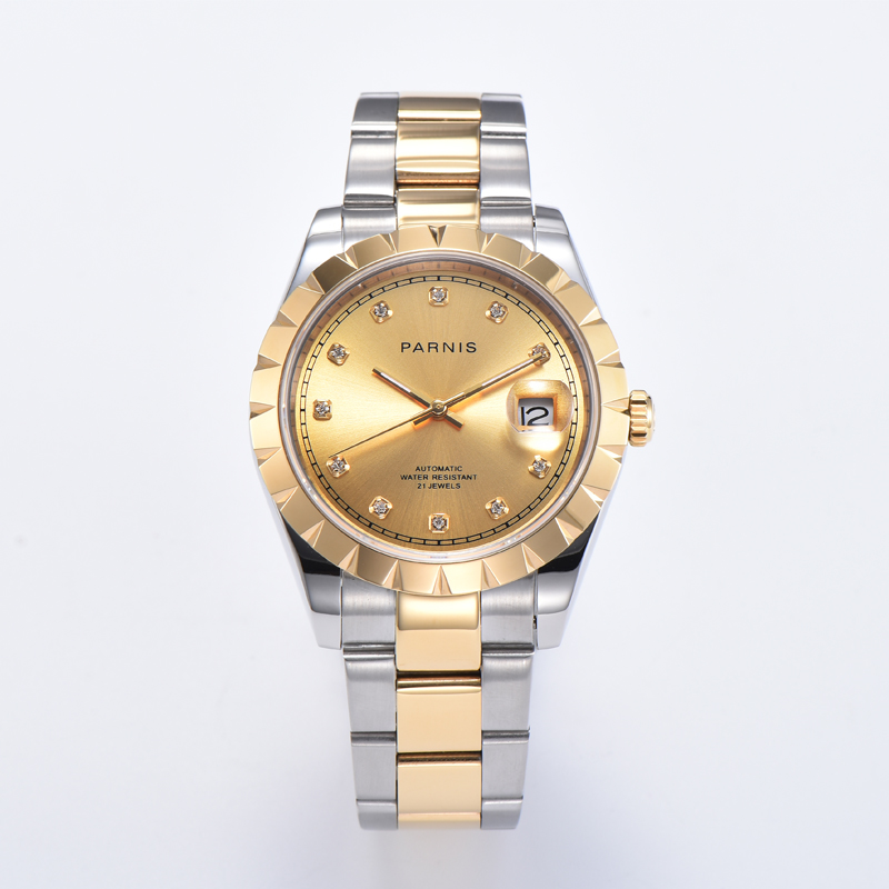 Parnis Miyota 8215 Movement Mechanical Automatic Mens Watches Calendar Spphire Crystal Men's Watch Gold Dial 2020 Luxury Brand