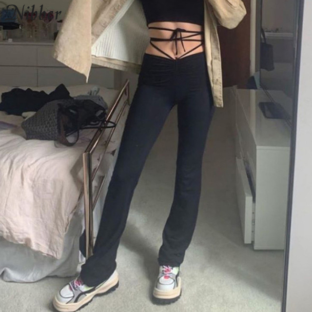 Nibber harajuku high waist hin thin Bandage Straight pants female high quality activitytrousers kpop street leisure party pants 1