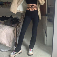 Nibber harajuku high waist hin thin Bandage Straight pants female high quality activitytrousers kpop street leisure party pants