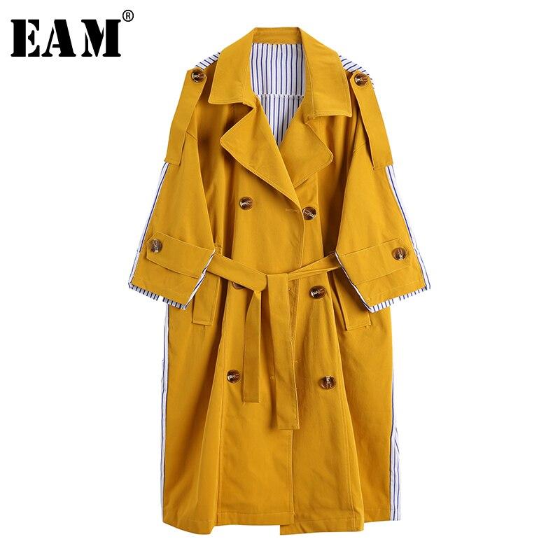 [EAM] Button Bandgae Striped Pocket Women   Trench   New Lapel Long Sleeve Loose Fit Windbreaker Fashion Autumn Winter 2019 JZ223