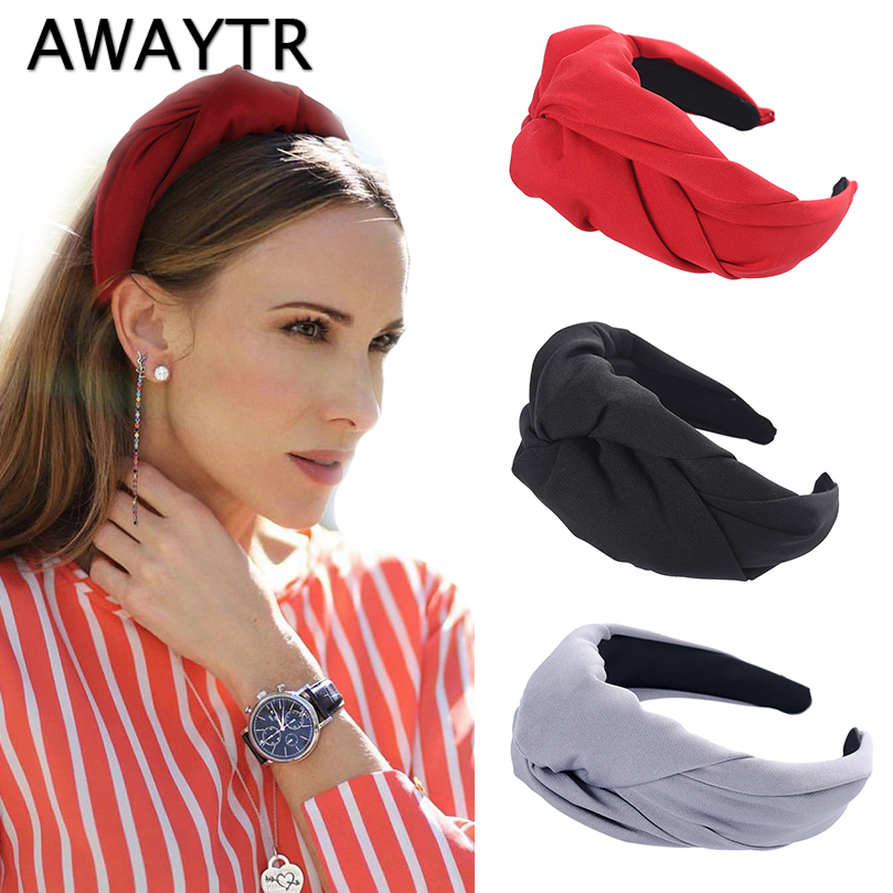 AWAYTR Retro Fashion Middle Big Knotted Headband For Women Korean Wild Wide-brimmed Hairband Fabric Female Hair Accessories